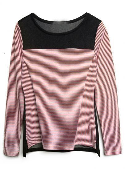 Red White Striped Long Sleeve High-Low T-Shirt