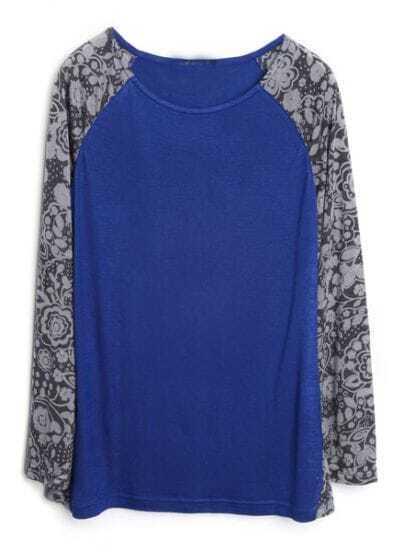 Blue Contrast Floral Reglan Sleeve T-Shirt