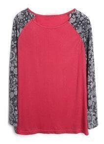 Red Contrast Floral Reglan Sleeve T-Shirt