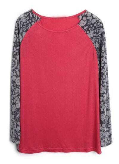 Red Contrast Floral Reglan Sleeve T-Shirt