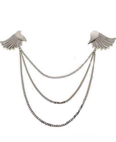 Silver Winged Collar Tips with Chain