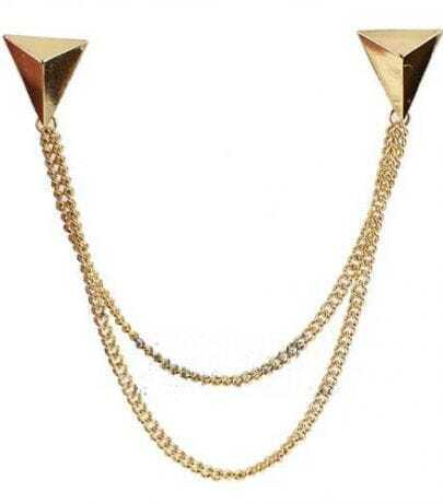 Gold Triangle Two Chains Collar Tips