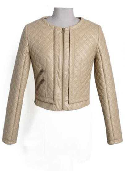 Khaki Long Sleeve Diamond Patterned Crop Jacket