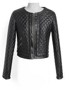 Black Long Sleeve Diamond Patterned Crop Jacket