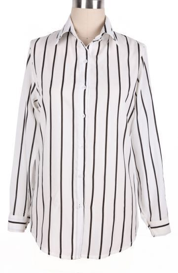 Black White Lapel Vertical Pinstripe Long Sleeve Blouse