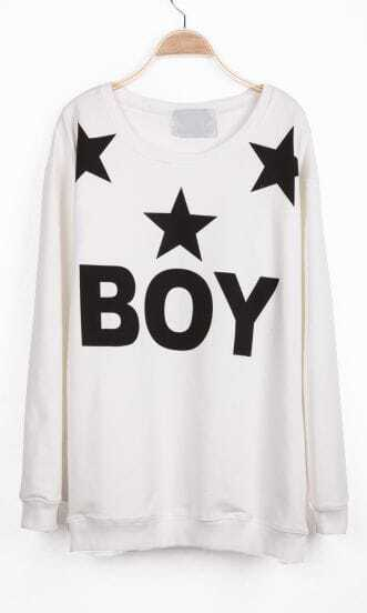 White Long Sleeve BOY Stars Print Sweatshirt