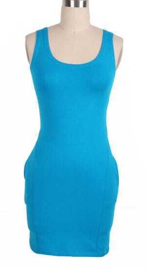 Blue Scoop Neck Sleeveless Pockets Body-Conscious Dress