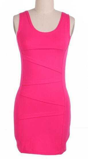 Rose Red Sleeveless Bandage Body-Conscious Dress