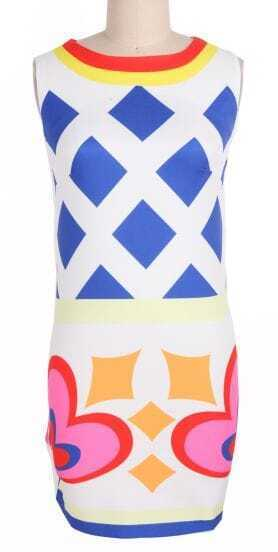 Blue Round Neck Sleeveless Geometric Print Body-Conscious Dress