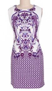 Purple Sleeveless Retro Porcelain Sheath Midi Dress