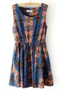 Blue Sleeveless Elastic Waist Floral Tank Dress