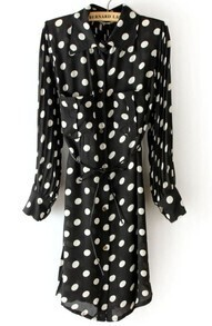 Black Polka Dot Drawstring Pockets Pleated Chiffon Dress