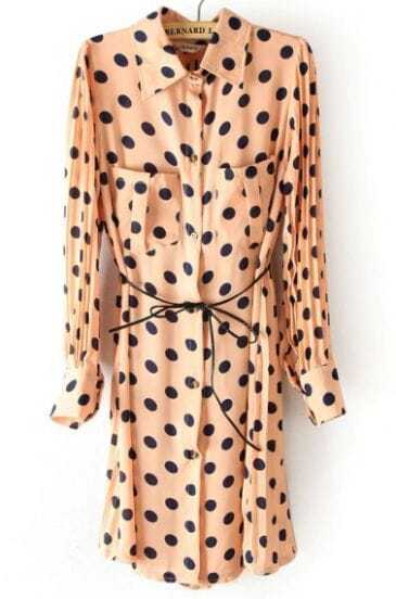 Pink Polka Dot Drawstring Pockets Pleated Chiffon Dress