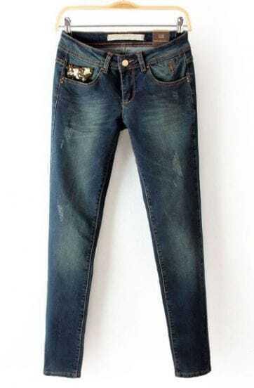 Blue Sequined Embellished Pockets Denim Pant