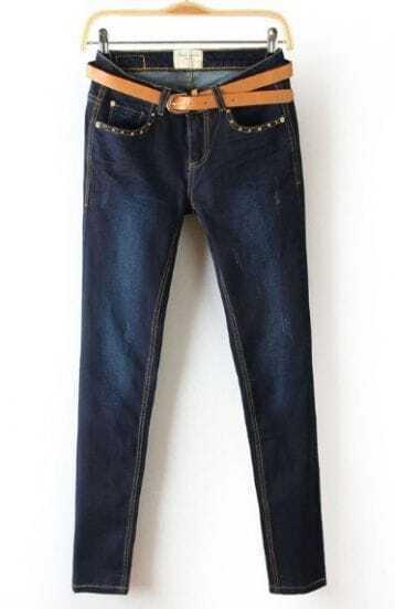 Navy Rivet Embellished Pockets Denim Pant