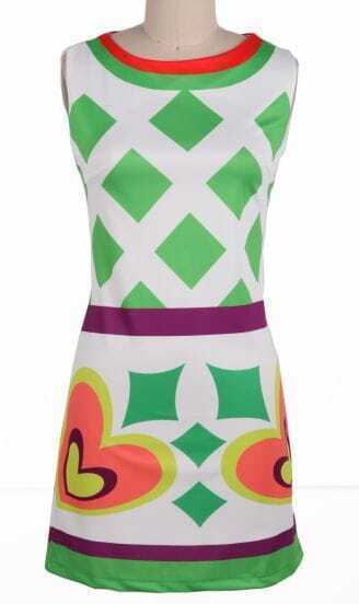 Green Round Neck Sleeveless Geometric Print Body-Conscious Dress