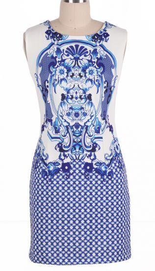 Blue Sleeveless Retro Porcelain Sheath Midi Dress