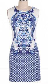 Blue Sleeveless Retro Porcelain Sheath Midi Dress