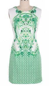 Green Sleeveless Retro Porcelain Print Sheath Midi Dress