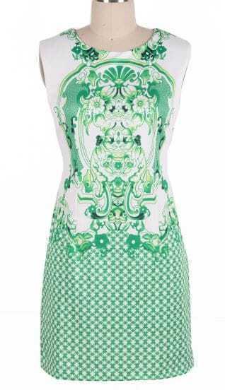 Green Sleeveless Retro Porcelain Print Sheath Midi Dress