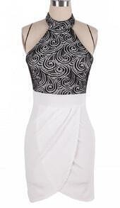 Black White Halter Top Back Hollow Lace Tulip Dress