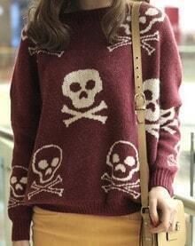 Wine Red Long Sleeve Skull Pattern Loose Sweater