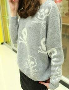 Grey Long Sleeve Skull Pattern Loose Sweater