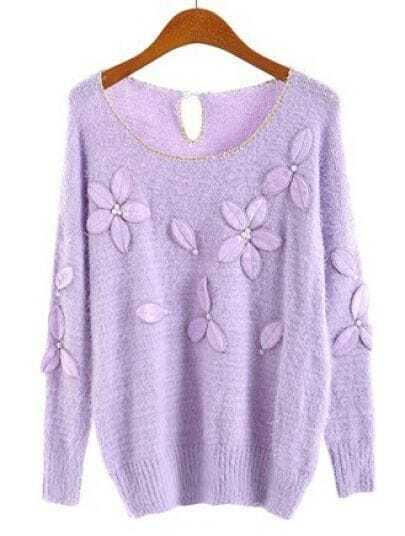 Purple Batwing Sleeve Flowers Beading Sweater