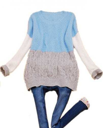 Blue Grey Batwing Long Sleeve Cable Sweater