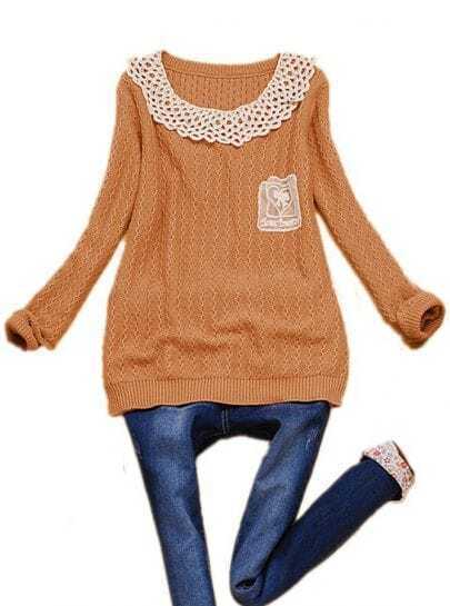 Pink Hollow Lace Lapel Zigzag Knit Sweater