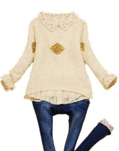 White Long Sleeve Hollow Embroidery Batwing Sweater