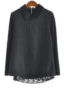 Black Long Sleeve Polka Dot Lace Embellished Blouse