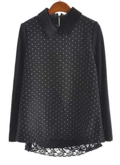 Black Long Sleeve Polka Dot Lace Embellished Blouse