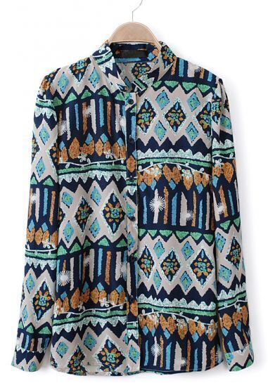 Navy Long Sleeve Geometric Print Chiffon Blouse