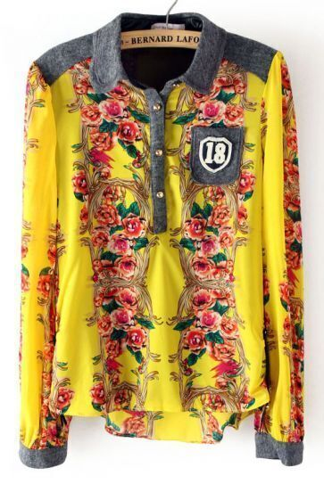 Yellow Long Sleeve Floral Pocket Buttons Blouse