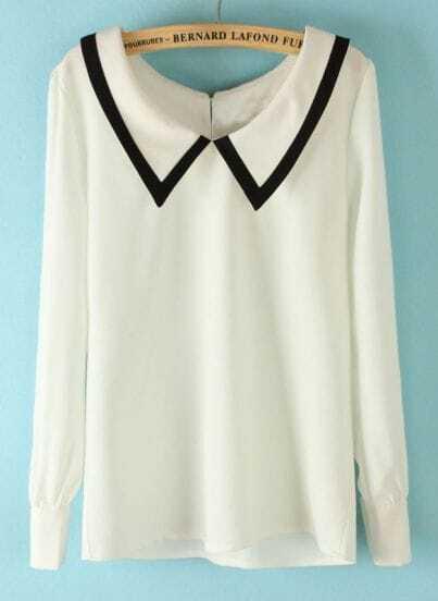 White Lapel Long Sleeve Back Buttons Blouse
