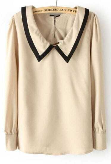 Khaki Lapel Long Sleeve Back Buttons Blouse