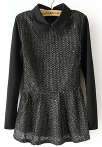 Black Grey Long Sleeve Sequined Back Zipper Blouse