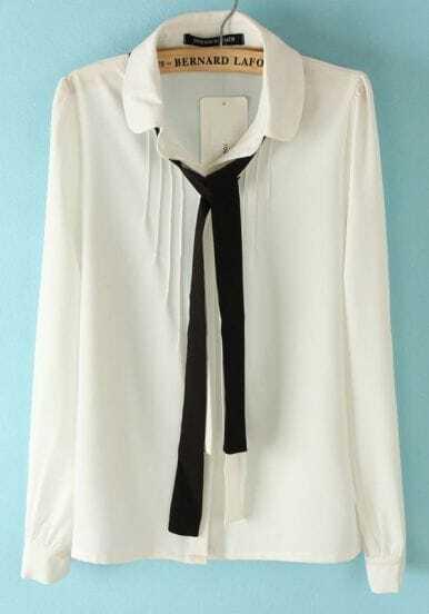 White Long Sleeve Cravat Embellished Pleated Blouse