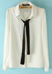 White Long Sleeve Cravat Embellished Pleated Blouse