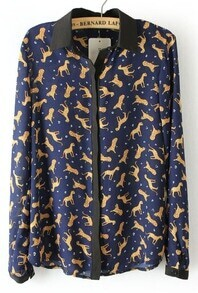 Navy Contrast Trims Animal Print Blouse