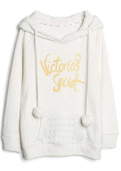 Beige Hooded Long Sleeve Letters Print Pockets Sweatshirt