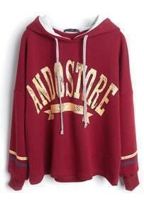 Red Hooded Drawstring ANDOSTORE Print Sweatshirt