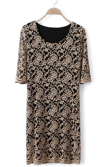Black Short Sleeve Lace Embroidery Dress