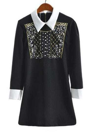 Black Long Sleeve Beading Metallic Yoke Dress