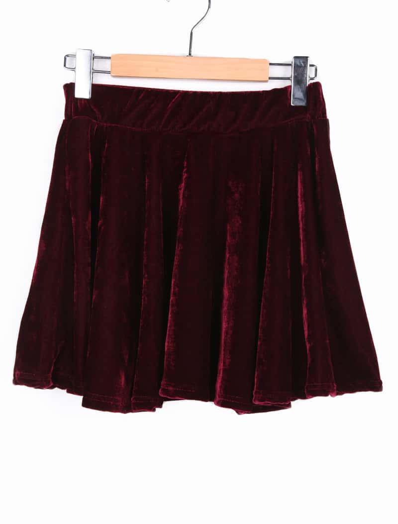 Red Elasic Waist Velvet A Line Skirt -SheIn(Sheinside)