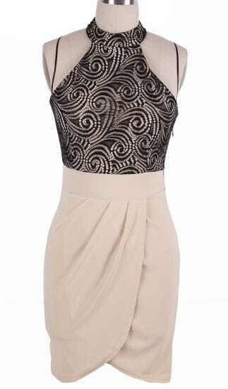 Black Apricot Halter Top Back Hollow Lace Tulip Dress