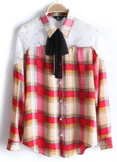 Red Plaid Shoulder Lace Ribbons Embellished Blouse