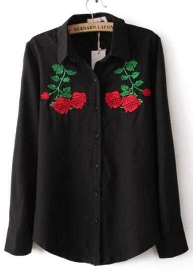 Black Lapel Long Sleeve Symmetry Embroidery Blouse