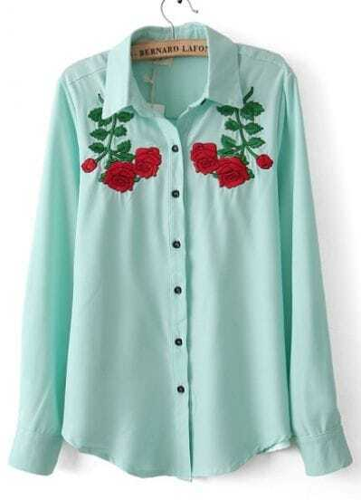 Light Green Lapel Long Sleeve Symmetry Embroidery Blouse
